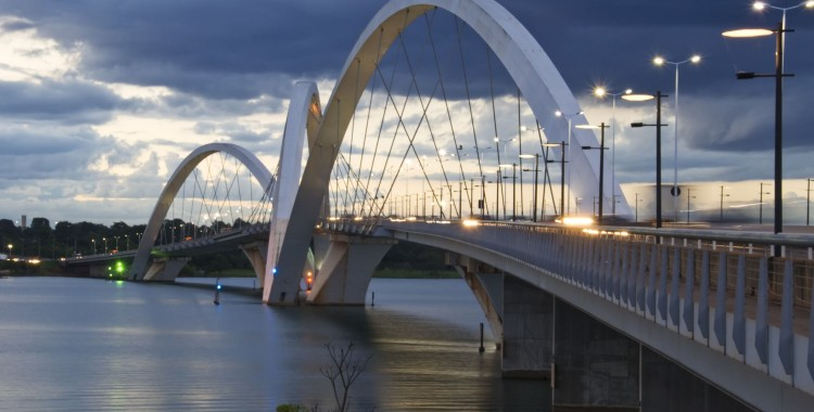 uscelino kubitschek bridge in brasilia, brazil at sunset